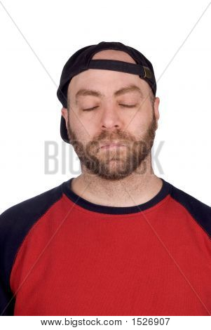 Sleeping Male Baseball Fan