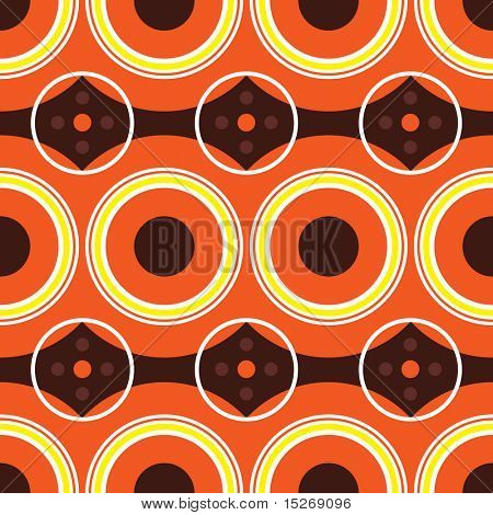 Retro sixties design with warm orange colors using circles