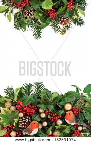 Christmas decorative border with gold bauble and robin decorations, holly, ivy, pine cones and fir leaf sprigs over white background.