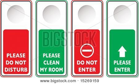 Stören Sie Illustrationen mit vier Variationen in grün und rot nicht