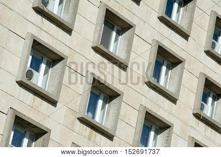 Texture, Pattern, Background. Windows Of Reinforced Concrete Buildings, Urban Landscape