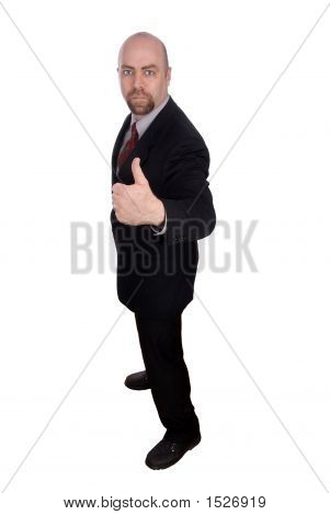 Homem de negócios com os polegares para cima