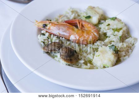 Arroz de Tamboril or soupy seafood rice on plate. Portuguese recipe