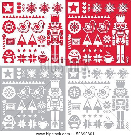 Christmas pattern with nutcracker - set of four designs folk art style