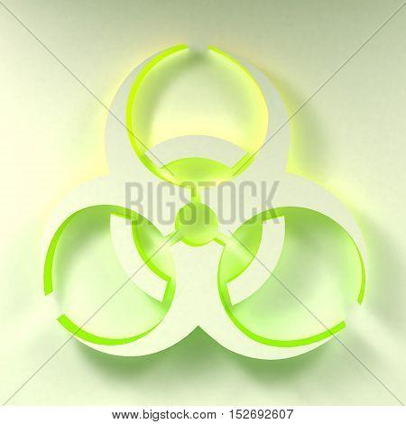 Three-dimentional Biohazard symbol. Biological danger symbol. 3D illustration