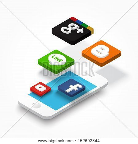 Phitsanulok, Thailand - October 20, 2016 : Vector of iphone and application float over it . Vector 3D design on white background .