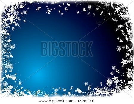 christmas border theme with white snowflake and a ice blue background