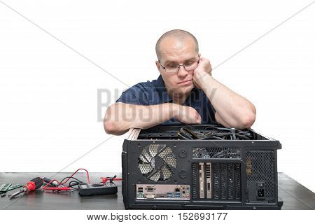 Computer Technician repairing computer system isolated on white background