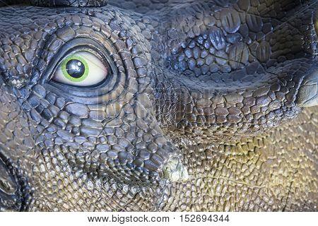 Badajoz. Spain - October 15 2016: Realistic model of dinosaur at Ifeba Expodino Exhibition. Triceratops
