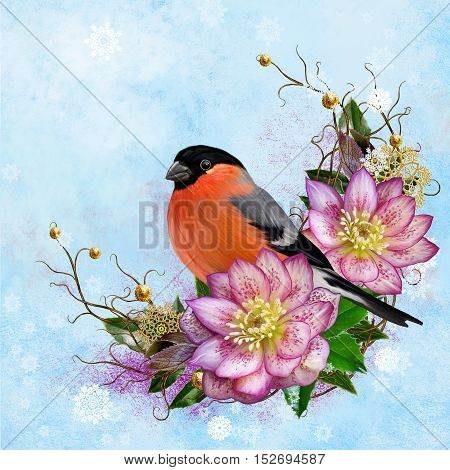 The bright red bird bullfinch pink flower hellebore weaving from twigs gold ornaments winter background Christmas composition. Winter background.