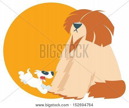 funny illutration cute puppy run, with shaggy dog