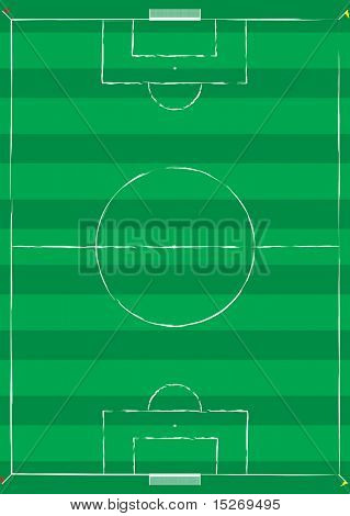 Football pitch with white lines and corner flags