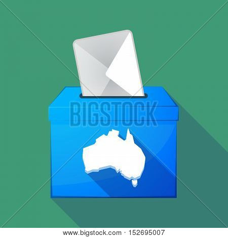 Long Shadow Ballot Box With  A Map Of Australia