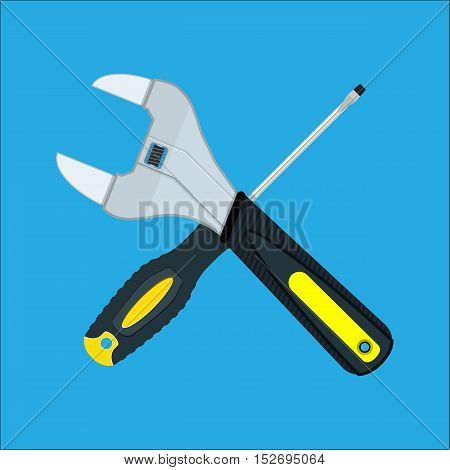 Screwdriver and Wrench crossed. vector illustration in flat style