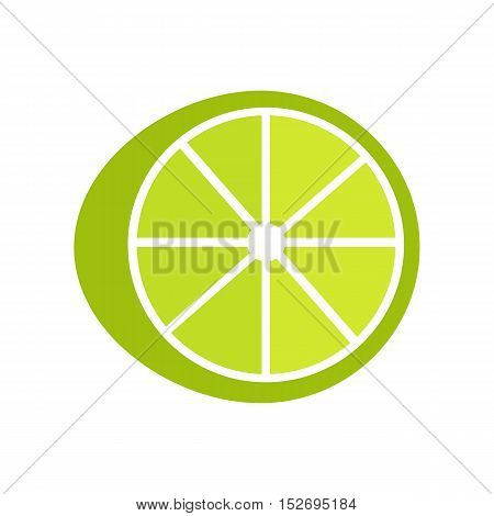Lime lemon vector in flat style design. Fruit illustration for conceptual banners, icons, mobile app pictogram, infographic, and logotype element. Isolated on white background.