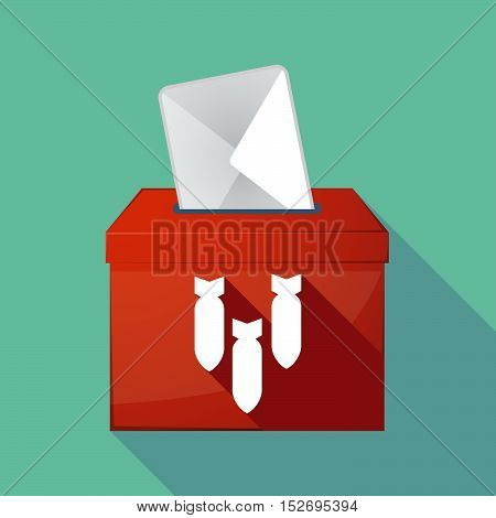 Long Shadow Ballot Box With Three Bombs Falling