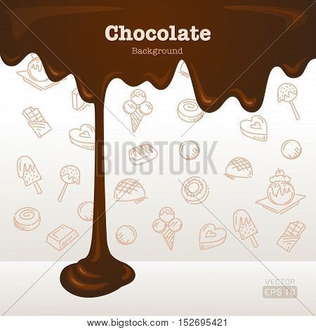 Melted chocolate background with dessert icons background