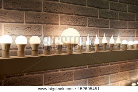Lamps Of Different Sizes And Shapes. A Booth To Showcase Led Lamps.