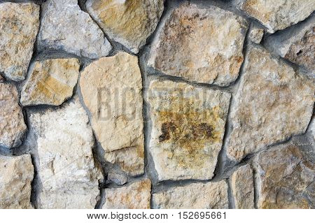 Texture, Background. Fence Lined With Wild Stone, Granite, Sandstone