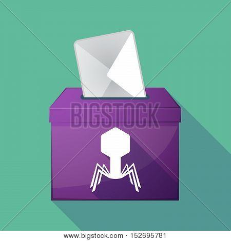 Long Shadow Ballot Box With A Virus