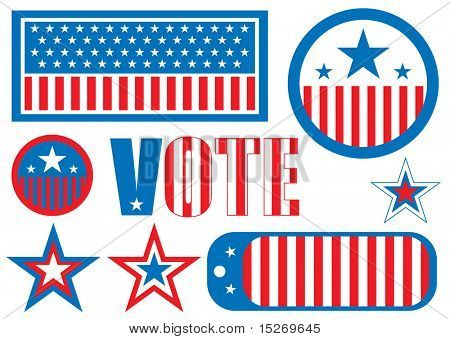 US election sign is the traditional red white and blue