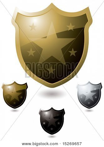 Collection of four shield in gold and silver with shadow