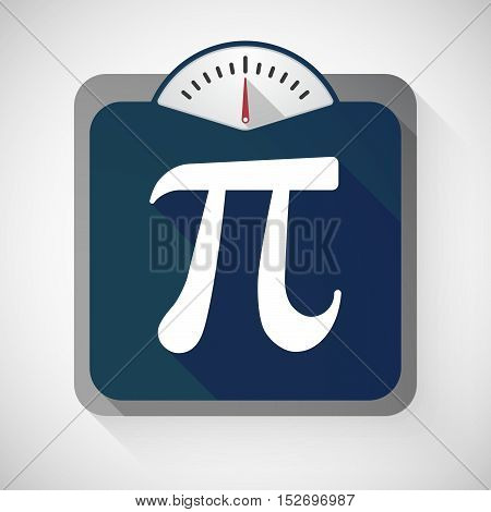 Isolated Long Shadow Body Weight Scale With The Number Pi Symbol