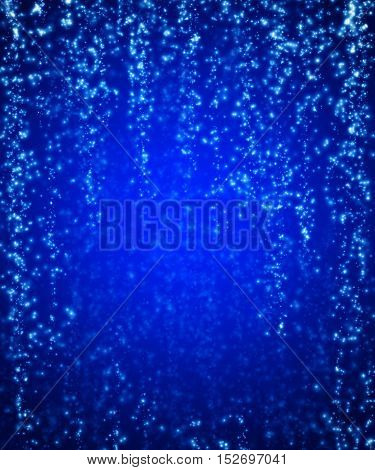 Dark blue shiny background. Falling sequins. Glittering stars and lights falling background illustration. Abstract shiny Christmas star fall background template