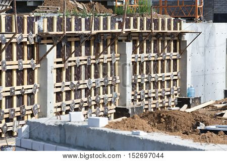 Texture, Pattern, Background. Construction Of A Residential Building Concrete Works