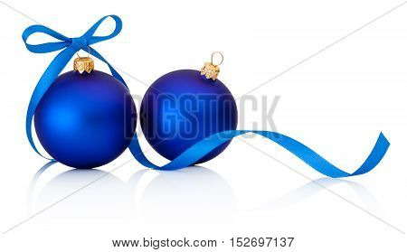 Two Blue Christmas baubles with ribbon bow isolated on white background
