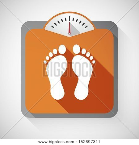 Isolated Long Shadow Body Weight Scale With Two Footprints