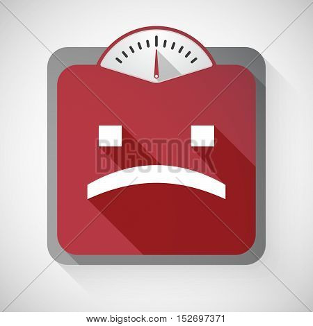 Isolated Long Shadow Body Weight Scale With A Sad Text Face