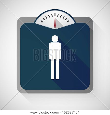 Isolated Long Shadow Body Weight Scale With A Male Pictogram