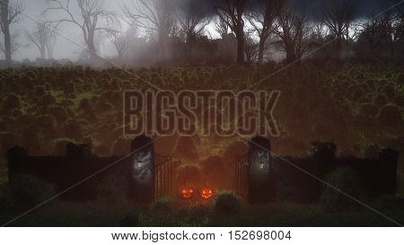 High Angle View Of Two Halloween Pumpkins At Spooky Gate In Misty Field At Night.