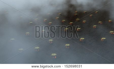 Aerial Of Foggy Meadow Filled With Halloween Pumpkins.