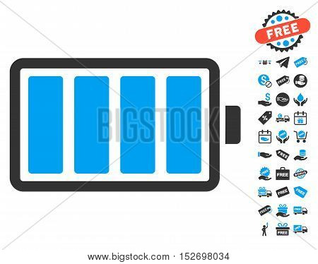 Battery pictograph with free bonus pictograph collection. Vector illustration style is flat iconic symbols blue and gray colors white background.