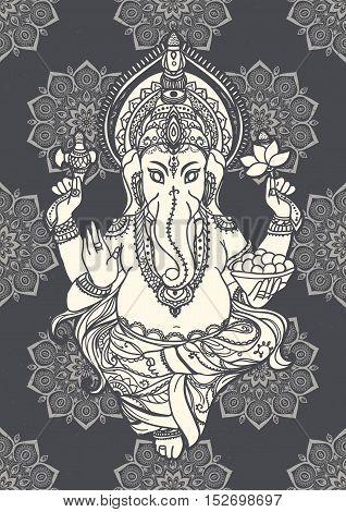 Ornament beautiful card with lord Ganesha image. God with elephant head. Illustration of Happy Ganesh Chaturthi. Invitation, gretting, birthday, holiday card. India traditional festival shree Ganesha