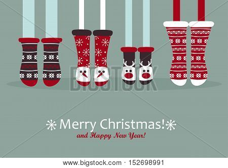 Family feet in Christmas socks. Winter holiday concept. Happy new year Greeting Card. Vector illustration.