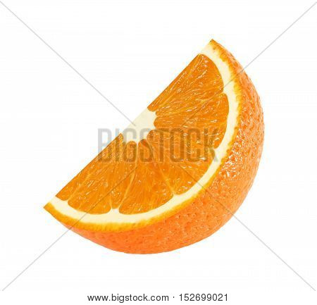 cut orange fruit slice sector isolated on white background with clipping path
