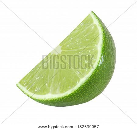 cut lime fruits isolated on white background with clipping path