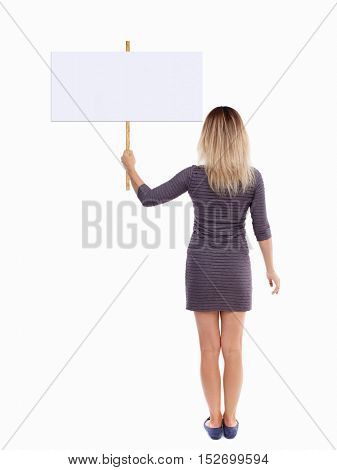 Back view woman showing sign board. man holds information plate. Rear view people collection. backside view of person. Isolated over white background.  girl in brown dress poster raised above his head
