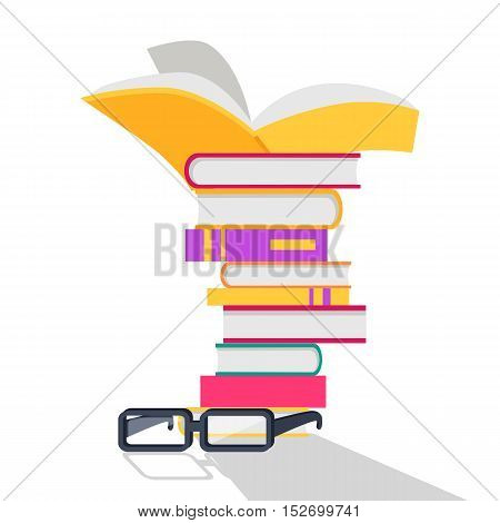 Reading books vector concept. Flat design. Stack of books with bright covers and glasses beside. Self-education and literature reading concept. Knowledge and erudition. Isolated on white background.