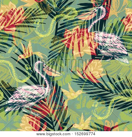Seamless Exotic Pattern With Abstract Palm Leaves And Tropical Animals.