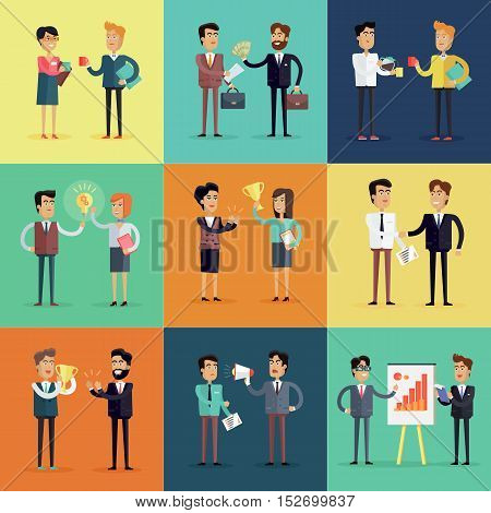 Set of business concepts vector in flat style. Collection of office situations and people work interactions. Illustrations for concepts, web, icons, infographics, logo design. Isolated on white.