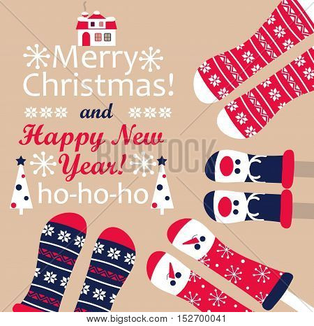 Family feet in Christmas socks. Winter holiday concept. Happy new year Greeting Card.