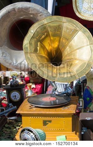 Flea Market, Antiques, Old Gramophones, Ancient Records With Music And Songs. Vintage Irons
