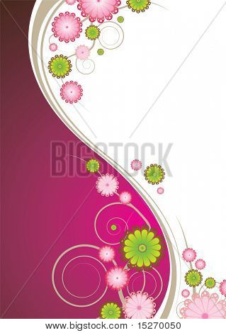 Abstract floral background in pink and brown with copy space