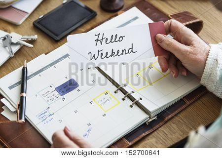 Hello Weekend Message Happiness Relaxation Concept