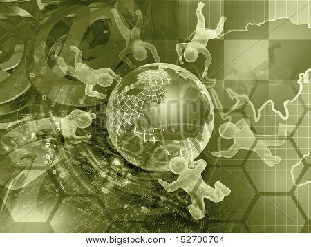 Computer background in sepia with globe mans and digits.