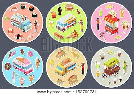 Isometric street food trucks set. Fast food, Mexican food, Japan food, Coffee and tea, Ice cream, Popcorn. Street food icon set. Street food cart with seller. Food truck collection. Street food chef